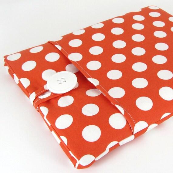 iPad Case, iPad Sleeve, iPad 2 Case, iPad 3 Case, iPad 2 Sleeve, iPad 3 Sleeve, iPad 4 Case, iPad 4 Sleeve - Cute Orange White Polka Dots.
