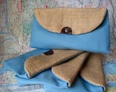 Bridesmaid burlap make up bags set of four