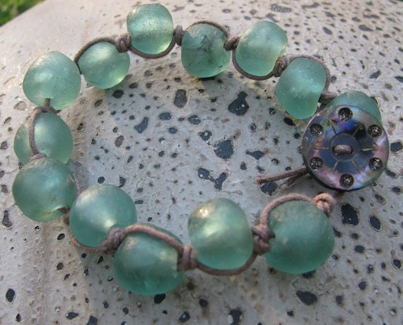 Large Mint Green Sea Glass Beaded Wrap Bracelet With By
