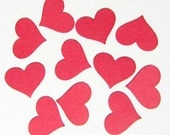 Red Paper Hearts - Die Cuts, Confetti, Wedding, Party Decorations - Clearance