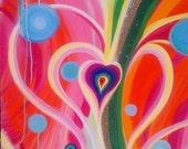 Reserved Listing  Original Abstract Painting Modern Art Large - Heart Explosion or Rainbow Heart Radiating Love