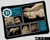 6 photo Birth Announcement- Baby Boy Blue & Black- Printable
