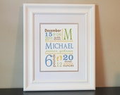 Baby Nursery Name Art Boy- 8x10 Personalized Print