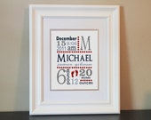 Baby Nursery Name Art Boy (Red, Blue & Gray)- 8x10 Personalized Print