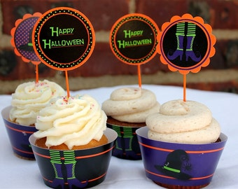 Witch Halloween Party Cupcake Wrappers- Printable