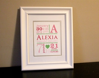 Baby Nursery Name Art Girl, Pink and Green- 8x10 Personalized Print