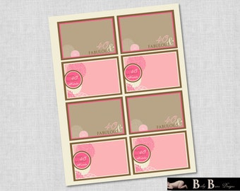 40 & Fabulous Flower Birthday Labels/Name Tags- Printable Party Supplies