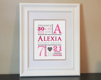 Baby Nursery Name Art Girl, Birth Announcement (Pink & Gray)- Personalized Print