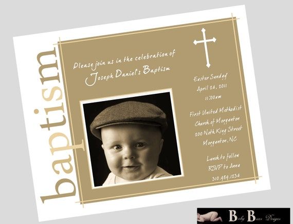 Baby Boy Baptism Invitation- Brown- Printable