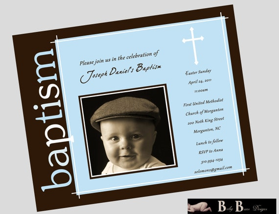 Blue & Brown Baby Boy Baptism Invitation
