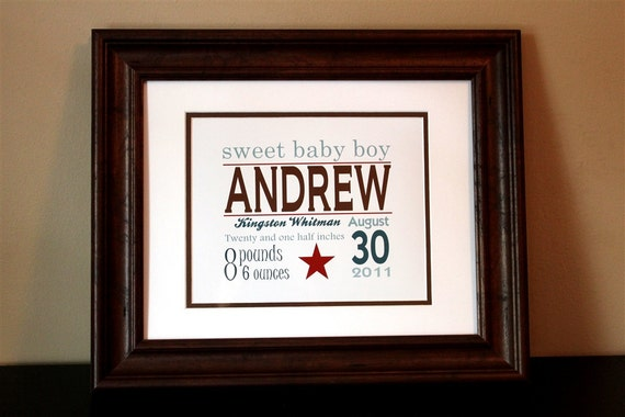 Baby Nursery Art- Boy Name Brown, Red & Blue- Printable or Shipped