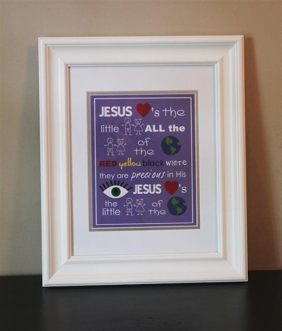 Baby Nursery Art- 8x10 Print Jesus Loves the Little Children- Printable or Shipped