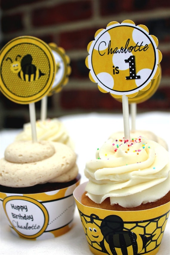 Bee Birthday Tags/Stickers/Cupcake Toppers: Printable or Shipped