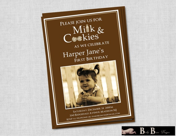 Milk & Cookies Birthday Party Invitation- Boy or Girl
