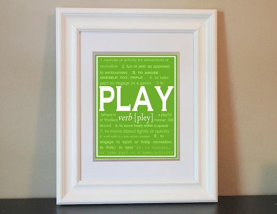Children's Nursery/Playroom Art- PLAY- Printable