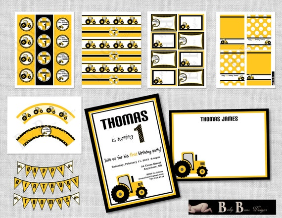 Tractor Birthday Party Pack- Yellow & Black- Party Supplies