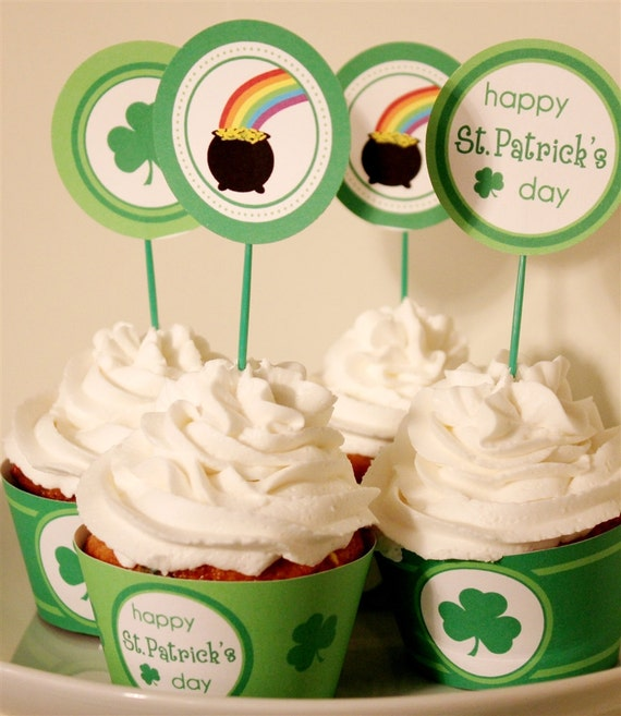 St. Patrick's Day Party Tags/Cupcake Toppers/Stickers- Printable or Shipped