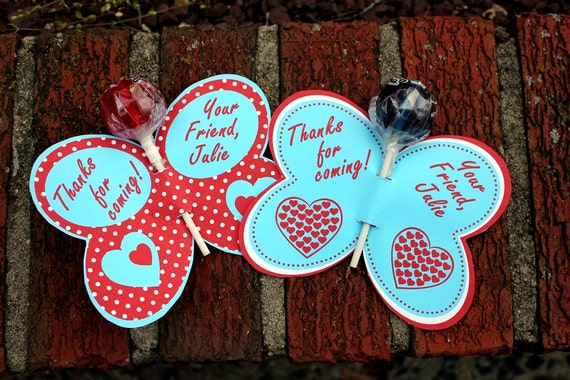 Personalized Red & Blue Butterfly Lollipop Party Favors- Printable or Shipped