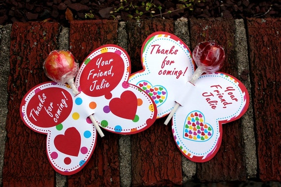 Personalized Red Hearts Butterfly Lollipop Party Favors- Printable or Shipped