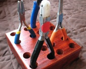 Padouk Wooden Hand Tool and Pliers Organizer, holds 8 tools