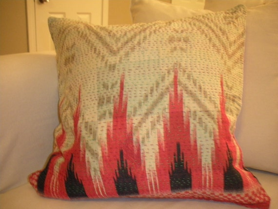 Ikat Pattern Vintage Indian Fabric Pillow-reversible