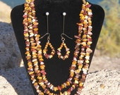 Natural Jasper Agate Stone Mixed Chip 3 Strand Yellows Browns Burgundy Handmade Necklace and Earrings SET