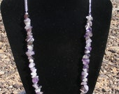 Natural Amethyst Chip and Silver Chain Single Strand Handmade Necklace