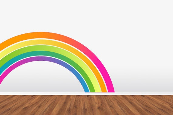 Rainbow Wall Decal  Removable Reusable Repositionable FABRIC WallSkin. Srsly Cool.