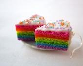 Kawaii Rainbow Cake Frosting and Sprinkles Polymer Clay Dangle Earrings