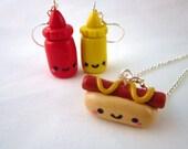 Kawaii Hot Dog Ketchup Mustard Food Necklace 3 Piece Set