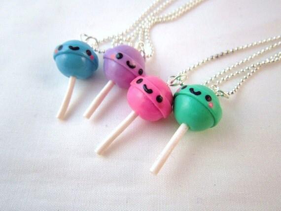 Kawaii Lollipop Dum Dum Pendant Polymer Clay Charm Silver Necklace
