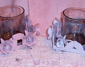 30%  Off Sale    Upcycled  Votive Candle Holders Set Of Two,Candle Holder, Metal, Roses, Pink, White, Set, Upcycled, Shabby Chic, cottage