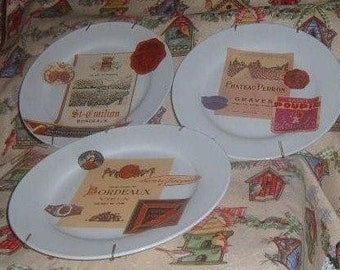 Vintage, Wine Decorative Plate, Wall Hanging, Wine Label,  Wine, Hanging Plates, Wall  Plates
