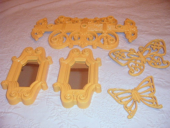 50% OFF,    Vintage Wall Grouping, Wall Mirror, Wall Butterflies, Yellow, Syroco, Burwood