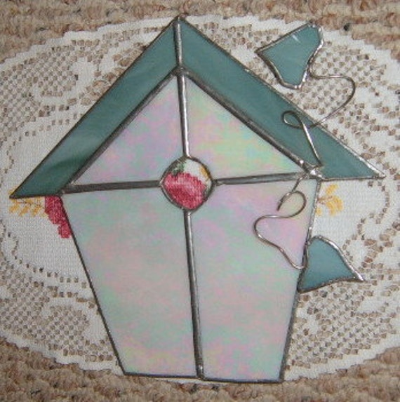 Reserved for Nikki   30% OFF  SALE              Vintage      Bird House, Stained Glass, Window Decor,  Handmade,
