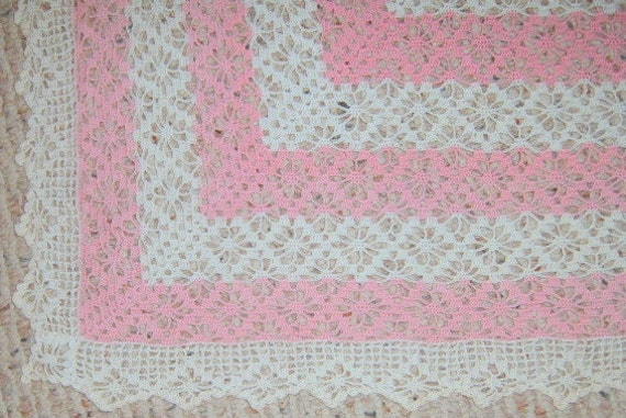 30% OFF SALE   Vintage    Crochet Table Cloth, Pink and White, Square, Shabby Chic