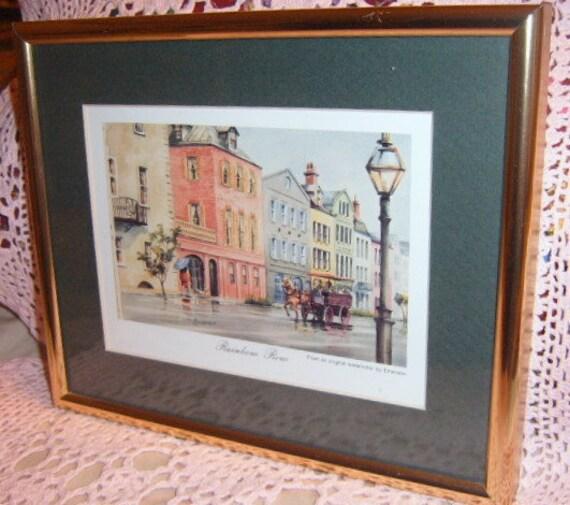 Rainbow Row, Framed Print, Charleston, South Carolina, Emerson,Watercolor