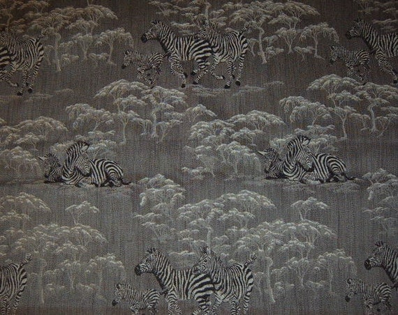 30% OFF SALE     Upholstery Fabric,  Animal Print, Jungle, Black, White, Zebra, Sewing Supplies