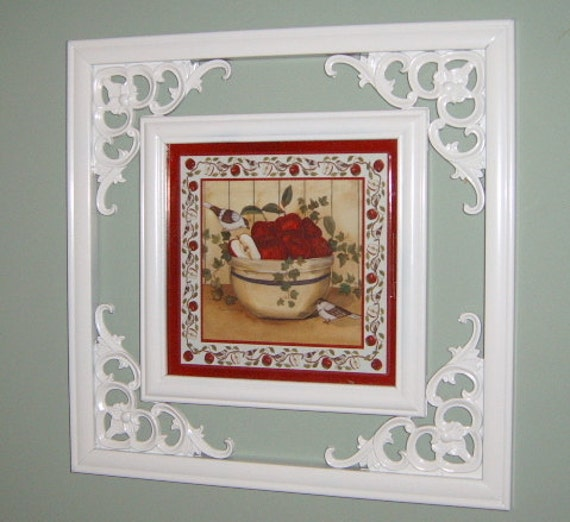 30% OFF  SALE     Cherries Wall Picture,  Upcycled, Ornate Frame, White, Kitchen Decor,