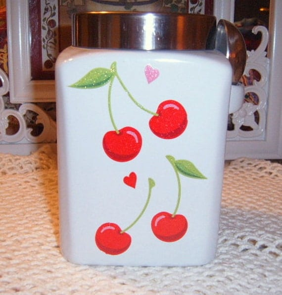30% OFF SALE    Canister, Cherries, White, Kitchen Decor, Upcycled