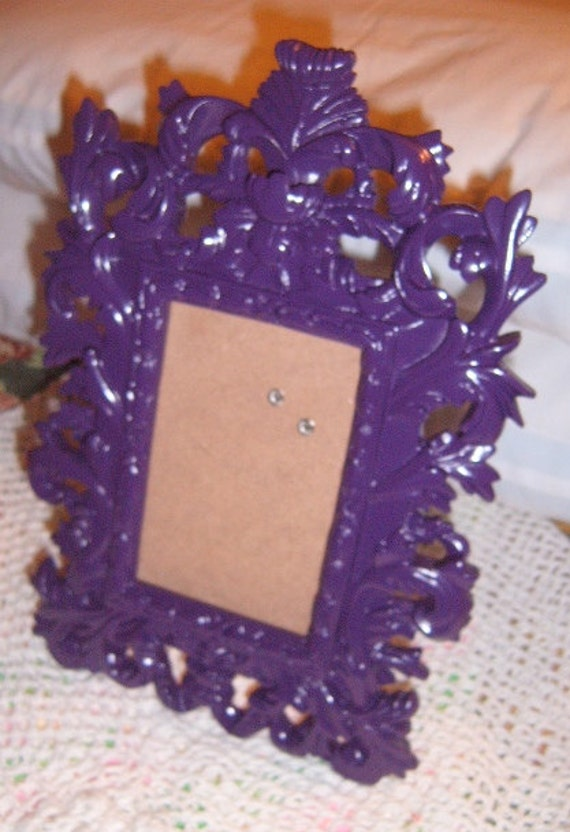 20%  OFF SALE    Picture Frame, Table Frame,Purple, Upcycled, Ornate, Paris Apartment