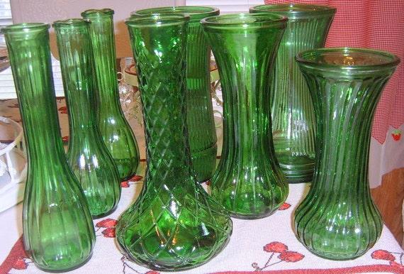 30% Off  Vintage Green Glass Vases,Wedding, , Table Decor, Bud Vase, Garden Party