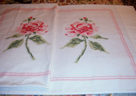 Vintage Pillowcases, Pillow Cases, Roses, Shabby Chic, Linens, Bedding
