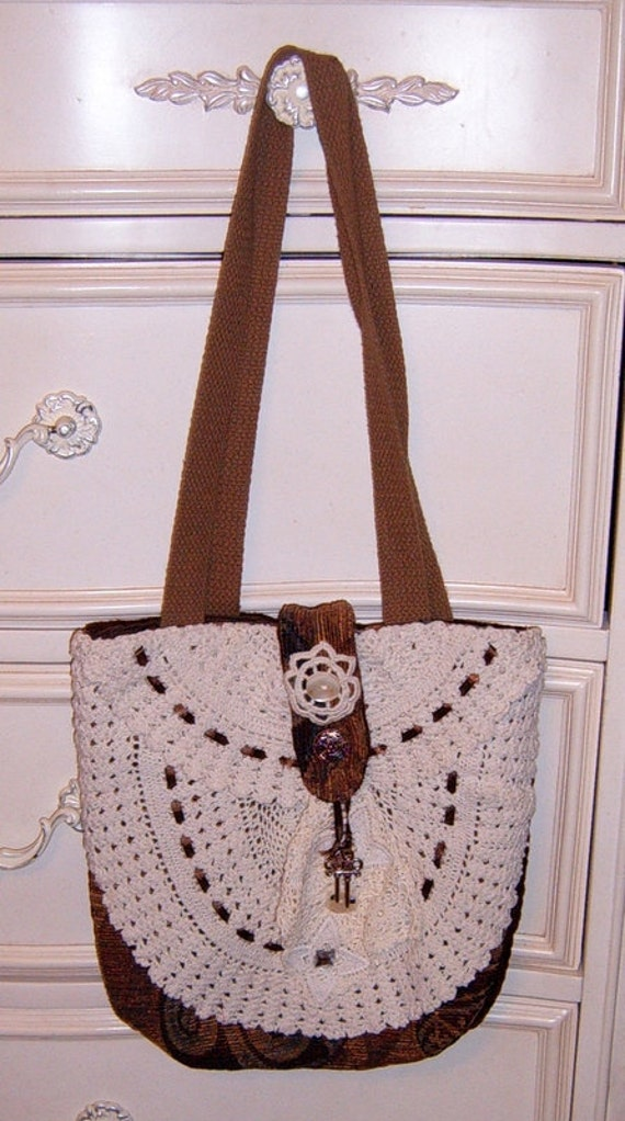 30% OFF  Upcycled , Handbag, Purse, Tapestry, Crochet, Embellished,