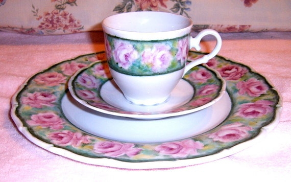 RESERVED    30%  OFF     Vintage Haas  Czjzek  Tea Cup, Saucer, Plate, Roses, Made in Czech Republic,Serving,
