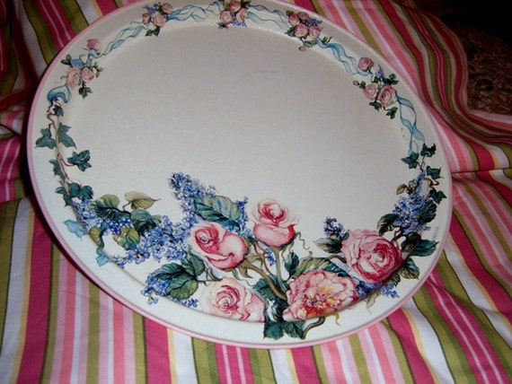 30%  OFF   Vintage Metal Round Tray, Roses, Shabby Chic, Kitchen, Serving