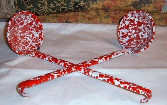 Vintage     Red Splatterware, Ladles, Red Enamelware, Serving,