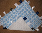 Baby ribbon/taggie snuggle blanket - flannel and minky lovey sensory