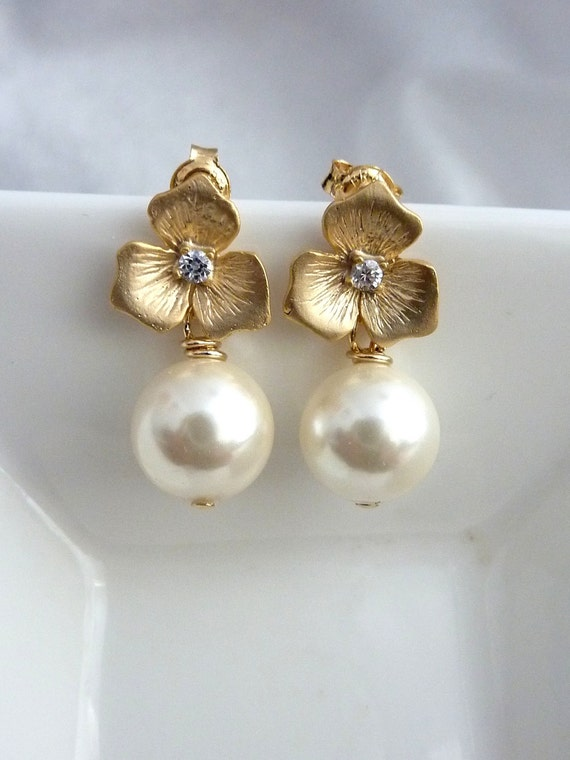 Promotion Sales - Swarovski Cream Ivory Round Pearl with Golden CZ Flower Earrings