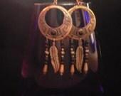 Vintage Sterling Silver Dangle Earrings/ Egyptian Style Earrings